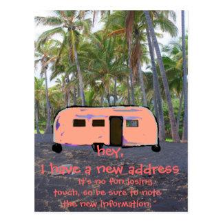 Nuevo hogar de la palmera hawaiana retra del tarjeta postal