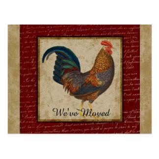 Nuevo hogar del gallo rojo movido postales