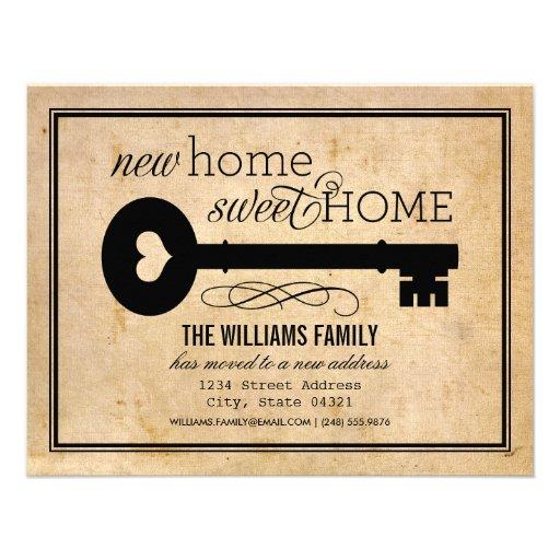 Nuevo hogar dulce casero móvil de las invitaciones anuncio personalizado