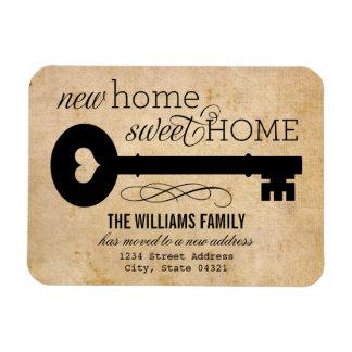 Nuevo hogar dulce casero móvil de las invitaciones iman rectangular