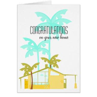 Nuevo hogar en las palmas tarjeta de felicitación