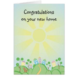Nuevo hogar lindo del gato y de la casa tarjeta de felicitación