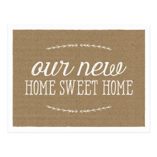 Nuevo hogar rústico de la caligrafía el | postal