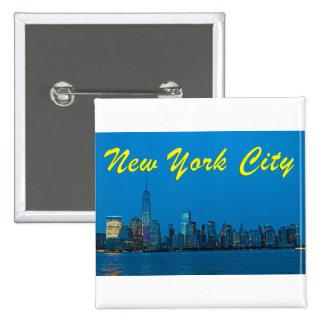 Nuevo horizonte imponente de Nueva York Pin Cuadrada 5 Cm