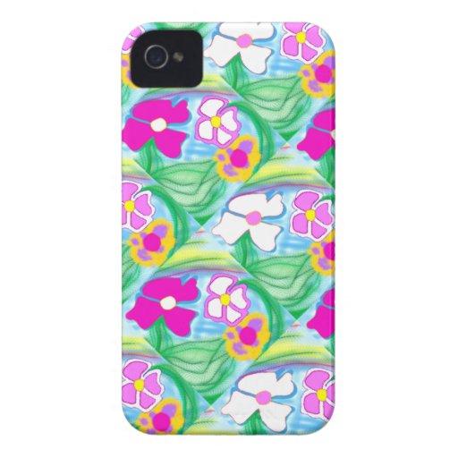 Nuevo iPhone lindo 4 y flores rosadas y blancas de Case-Mate iPhone 4 Carcasa