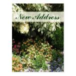 Nuevo jardín de flores de la dirección tarjeta postal