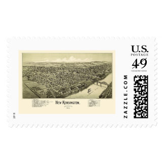 Nuevo Kensington, mapa panorámico del PA - 1902 Sellos