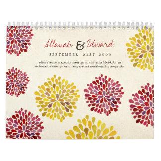 Nuevo libro de visitas personalizado boda único de calendarios de pared