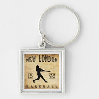 Nuevo Londres Connecticut béisbol de 1898 Llavero Cuadrado Plateado