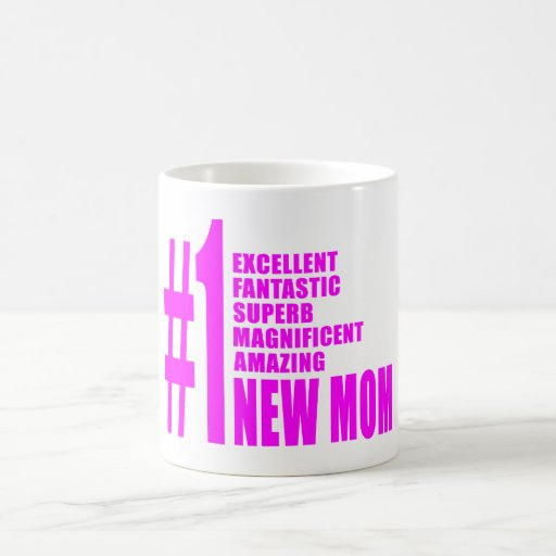 Nuevo mamá del número moderno el rosado de las taza básica blanca