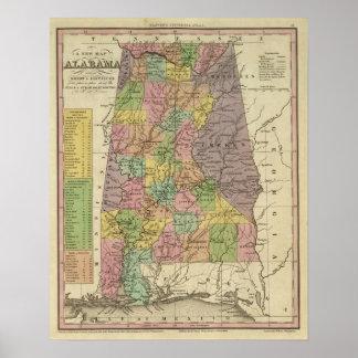 Nuevo mapa de Alabama Poster