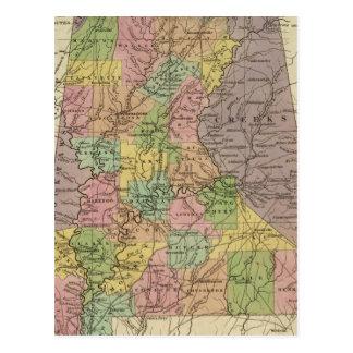 Nuevo mapa de Alabama Postales