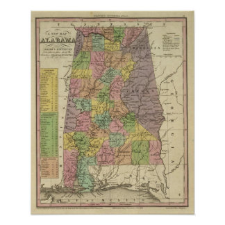 Nuevo mapa de Alabama Póster