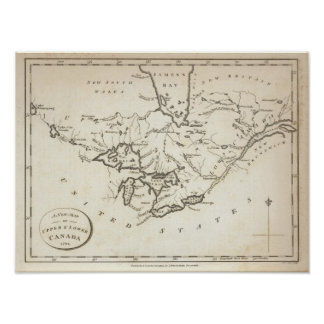Nuevo mapa de Canadá superior y más bajo Póster