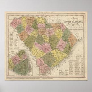Nuevo mapa de Carolina del Sur 2 Poster