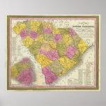 Nuevo mapa de Carolina del Sur Póster
