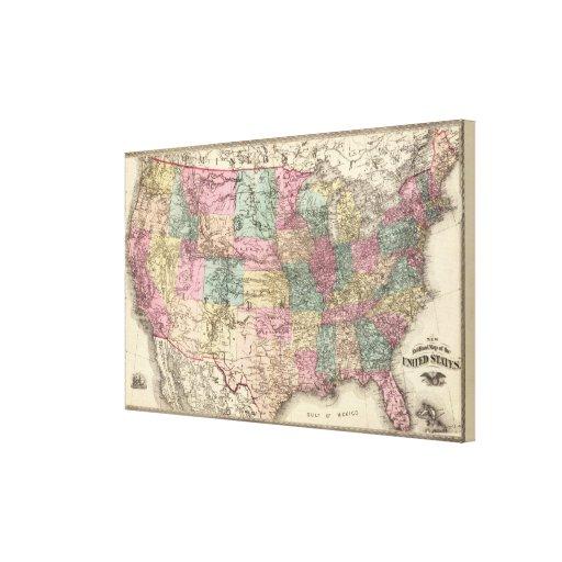Nuevo mapa de ferrocarril de los Estados Unidos Impresiones De Lienzo