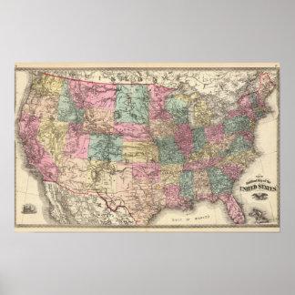 Nuevo mapa de ferrocarril de los Estados Unidos Impresiones