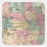 Nuevo mapa de ferrocarril de los Estados Unidos Pegatina Cuadrada
