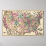 Nuevo mapa de ferrocarril de los Estados Unidos Póster