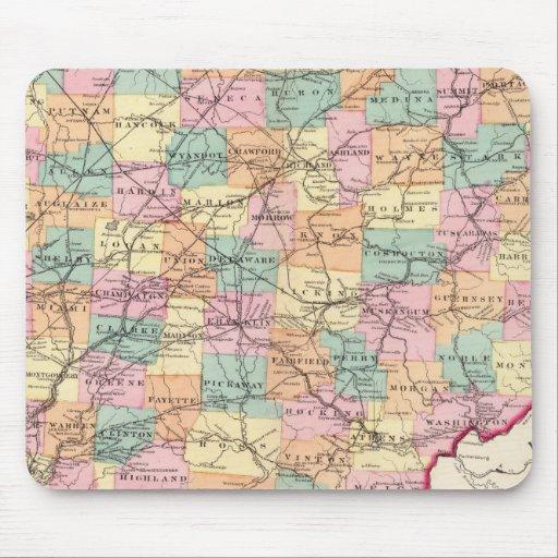 Nuevo mapa de ferrocarril del estado de Ohio Mouse Pads