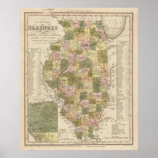 Nuevo mapa de Illinois 2 Impresiones