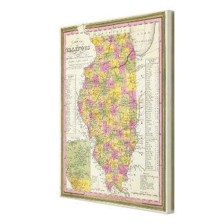 Nuevo mapa de Illinois Impresiones En Lona