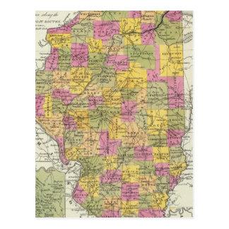 Nuevo mapa de Illinois Tarjetas Postales