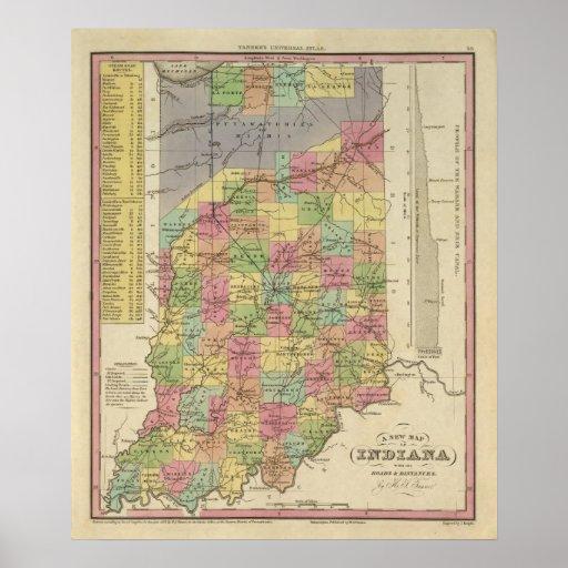 Nuevo mapa de Indiana Póster