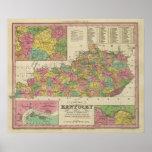 Nuevo mapa de Kentucky Póster