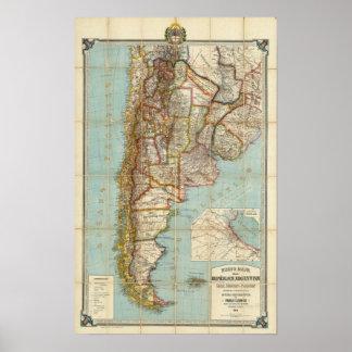 Nuevo mapa de la Argentina Póster