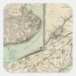 Nuevo mapa de la provincia de Quebec Calcomanía Cuadrada