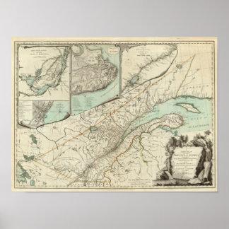 Nuevo mapa de la provincia de Quebec Póster