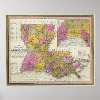 Nuevo mapa de Luisiana 3 Posters