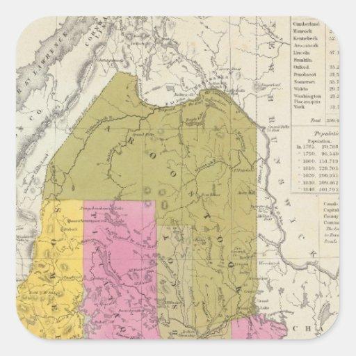 Nuevo mapa de Maine 2 Pegatina Cuadrada