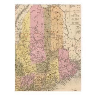 Nuevo mapa de Maine Tarjetas Postales