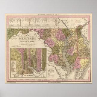 Nuevo mapa de Maryland y de Delaware Póster