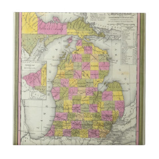 Nuevo mapa de Michigan 2 Azulejo Cuadrado Pequeño