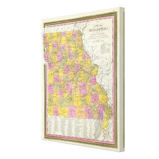 Nuevo mapa de Missouri 2 Lona Envuelta Para Galerías