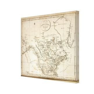 Nuevo mapa de Norteamérica Lona Envuelta Para Galerias