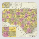 Nuevo mapa de Nth Carolina Pegatina Cuadrada