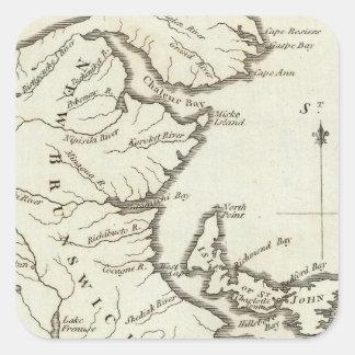 Nuevo mapa de Nueva Escocia, Nuevo Brunswick Pegatinas Cuadradas
