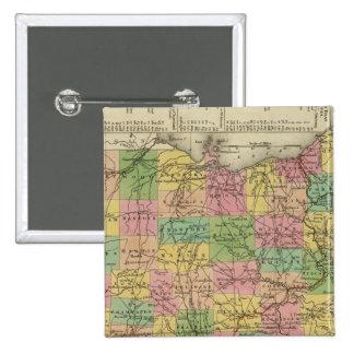 Nuevo mapa de Ohio 2 Pin Cuadrado