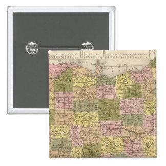 Nuevo mapa de Ohio Pin Cuadrado