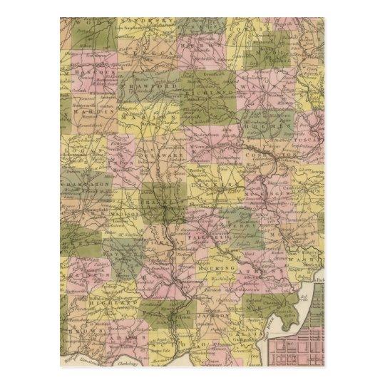 Nuevo mapa de Ohio Tarjetas Postales