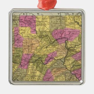 Nuevo mapa de Pennsylvania 2 Adorno Navideño Cuadrado De Metal