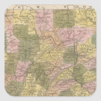 Nuevo mapa de Pennsylvania Pegatina Cuadrada