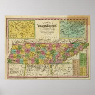 Nuevo mapa de Tennessee 2 Posters