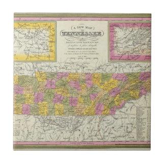Nuevo mapa de Tennessee Azulejo Cuadrado Pequeño