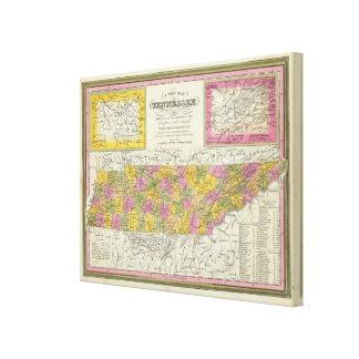 Nuevo mapa de Tennessee Impresiones De Lienzo